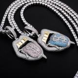 Pink Blue Cash Money Tongue Hot Girl Gold Grillz Hip Hop Pendant Chain Necklace
