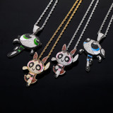 Ladies New Bling Flooded Ice Powder Puff Cartoon Girls Hip Hop Pendant Chain Necklace