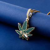 Flooded Ice Green Smoking Leaf Hip Hop Weed Pendant Bling Chain Necklace