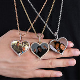 Flooded Ice AAA Micro Pave Photo Picture Heart Custom Made Pendant Chain Necklace