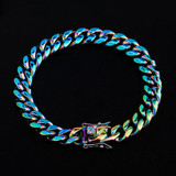 10mm 14mm Stainless Steel Fashion Rainbow Color Cuban Link Hip Hop Bracelet