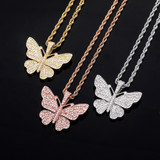 Ladies Bling Bling AAA Micro Pave 14k 925 Rose Gold Hip Hop Butterfly Pendant Necklace