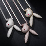 Hip Hop Fashion Upside Down Rabbit Bad Bunny Hip Hop Iced Pendant Chain Necklace