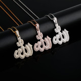 Total Iced New Allāh Bling AAA True Micro Pave Spiritual Pendant Chain Necklace