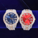 Mens Flooded Ice Deluxe Big Business Hip Hop Iced Bezel Watches
