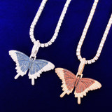 Double Stone 18k Gold 925 Silver AAA Micro Pave Butterfly Hip Hop Pendant Chain Necklace
