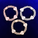 24k Gold .925 Silver Rose Gold Big Heart Love 10mm Miami Cuban Link Bracelet