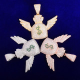 Money Flying To Me Dollar Sign Wings Money Bag Gold Silver Rose Gold Hip Hop Pendant