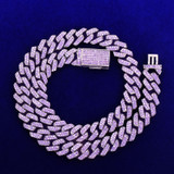 10MM Purple Blue Flooded Ice True Micro Pave Designer Cut Cuban Link Bling  Chain Necklaces