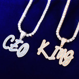 Flooded Ice 18k Gold 925 Silver Custom Blue Streak Hip Hop Name Initial Chains