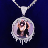 Solid Back Drip Drop Custom Photo 12mm Cuban Cut 18k Gold Picture Pendant Chain Necklace