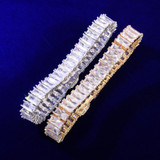 Mens 24k Gold 925 Silver Flooded Total Ice 14mm Baguette AAA Micro Pave Hip Hop Bracelet