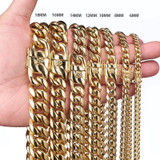 Mens 6mm-18mm 14k Gold Stainless Steel Miami Cuban Link Hip Hop Chain Necklaces