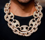 Mens 3A Flooded Ice 17mm Miami Cuban Link Barrel Claw True Micro Pave Bling Chain Necklace