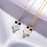 925 Solid Sterling Silver Hip Hop Fashion Glitter Owl Bling Pendant Chain Necklace