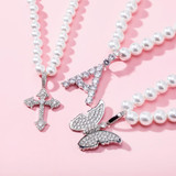 Ladies High Fashion Vintage Look White Pearl Necklace Flooded Ice Butterfly Pendant Charm
