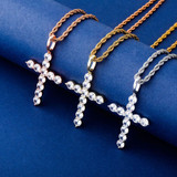 All Ice Top Fashion Hip Hop 14k Silver Rose Gold Cross Pendant Chain Necklace