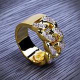 14k Gold Iced Simulate Diamond Cuban Link Chain Hip Hop Ring