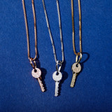 Ladies 925 Sterling Silver Souls Key Pendant Iced Chain Necklace