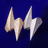 18k Gold 925 Silver Lightning Bolt AAA Micro Pave Hip Hop Rings