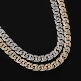 Flooded Ice 16mm 14k Gold 925 Silver Prong Baguette Curb Link Hood Honcho Chain Necklace
