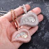 Hip Hop Sexy Ladies Drip Drop Bottom Lip Bite Bling Micro Pave Pendant Chain Necklace