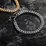 5mm Bling Cluster Stone 4 Prong Set High Quality Cuban Link Chain Bracelet