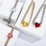 Ladies Iced Big Heart 9mm Cuban Link Choker Style Bling Chain Necklace