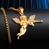 14k Gold over Titanium Stainless Steel Chopper Angel Of Death Pendant Chain Necklace
