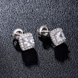 Flooded Ice Square AAA Center Stone 14k Gold 925 Silver Earrings