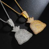 Get The Bag Flooded Ice Baguette Stone Dollar Sign Money Bag Hip Hop Pendants