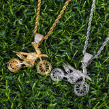 Hip Hop AAA Micro Pave Biker Boy Motorcycle 14k Gold 925 Silver Iced Bling Pendant Chain Necklace