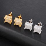 9mm Bling Flooded Ice Micro Full Pave AAA Stone Square Block Boy Hip Hop Earrings