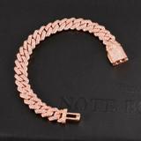 925 Silver 14k Rose Gold Hip Hop 10MM 2 Row Heavy Cuban Micro Pave Bling Box Buckle Bracelet