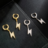 14k Gold 925 Silver Iced Thick Lightning Bolt Huggie Hip Hop Earrings