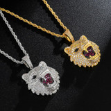 Hip Hop 14k Gold White Gold Flooded Ice Wolf Head Bling Pendant Chain Necklace
