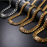Hip Hop Mens Iced Clasp 316L Stainless Steel Cuban Link Bling Bling Chain Necklaces