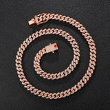 Hip Hop AAA Bling 8MM Prong Set Miami Cuban Link 14k Rose Gold Silver Bling Chain Necklace