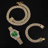 Flooded Ice Presidential Watch Hip Hop 13.5MM 3 Piece Cuban Chain Bracelet Bling Combo Set