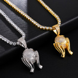 The World In My Hands Hip Hop AAA Handset Flooded Ice Pendant Chain Necklace