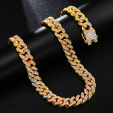 14k Gold 925 Silver 13MM Bling Bling Miami Curb Cuban Link Chain Necklace