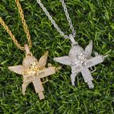 Flooded Ice Uzi Machine Hip Hop Guardian Angel Bling Pendant Chain Necklace