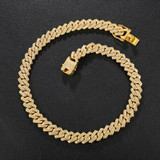 13.5mm Hip Hop Paved Set 14k Silver Rose Gold AAA Bling Miami Cuban Link Chain Necklace
