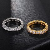 1 Row Fully Iced 14k Gold 925 Silver Hip Hop Tennis Rings