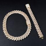Hip Hop 19mm Close Cut Miami Cuban Link Buckle Clasp AAA Micro Pave Chain Bracelet Set