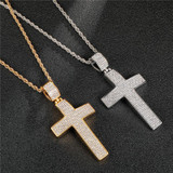 14k Gold Silver over Stainless Steel Iced Classic Hip Hop G Cross Pendant Chain Necklace