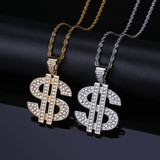 Flooded Ice Solid Dollar Sign 14k Gold 925 Silver Hip Hop Pendant