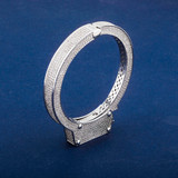White Gold AAA Micro Pave Handcuff Flooded Ice Bracelets