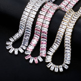 Pink Ice 10mm 14k Gold 925 Silver Baguette Chain Necklace