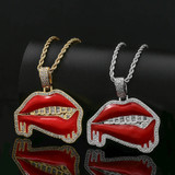 Flooded Ice Baguette Grillz Red Lipstick Dripping Drooling Hot Lips Hip Hop Pendant
